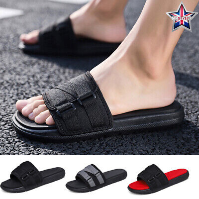 Mens Slippers Scuffs Slider Indoor Canvas Casual Breathable Slip Resistant Black