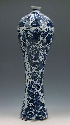 Exquisite CHINESE BLUE AND WHITE PORCELAIN HAND-PAINTED FISH VASE Pots