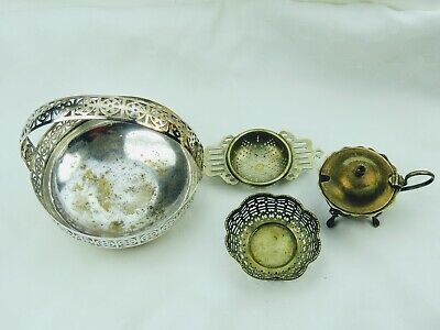 Job Lot Silver Plated Items Basket, Mustard, Tea Strainer and Small Dish SP03