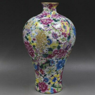 Qianlong Years Pastel Porcelain Vase Decoration Hand-Painted Flower Rare