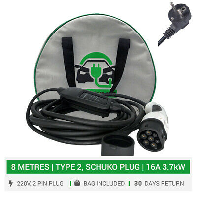 Type 2 portable / home charger. 16A. 8METRES. 2pin SCHUKO plug. EVSE charger