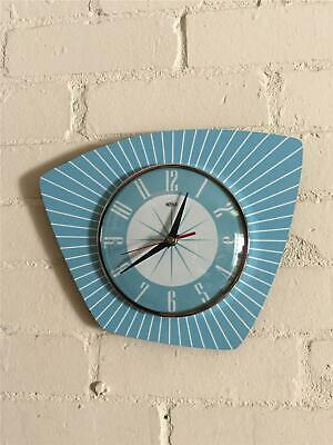 MidCentury style Atomic Asymmetric Formica Kitchen Clock Light Blue Made in UK