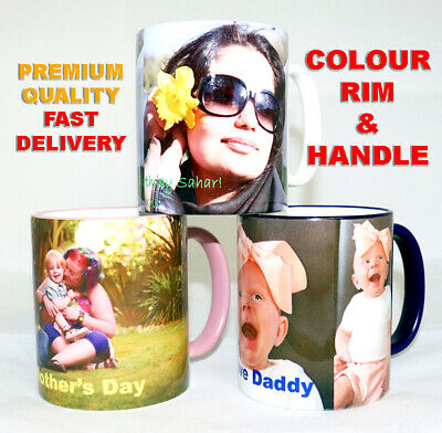 Personalised Photo Mug Coloured Rim & Handle