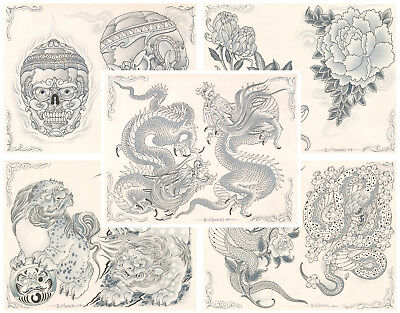 Bill Canales Traditional Japanese Tattoo Flash 5 Sheets 11x14 Dragons, Snakes