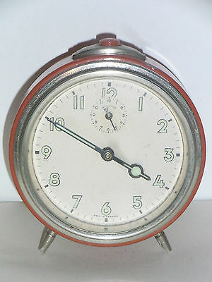 Antique Alarm Germany Clock Mechanical Années 70 Vintage 1970 Deco Design Loft