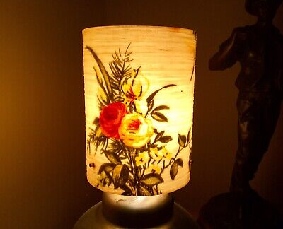Mid Century Spun Fibreglass Lamp Shade Unusual Floral Design 1960s