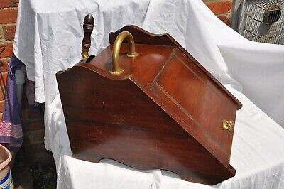 Edwardian Coal Box Complete With Shovel & metat liner with  brass fittings