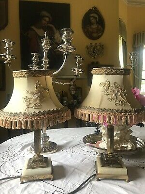 pair vintage Antique Small Rewired Neo Classic Gilt & Marble Column Table Lamps