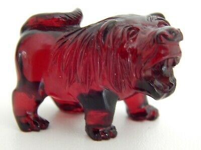 Antique / Vintage Chinese Cherry Amber Carved Lion Figure