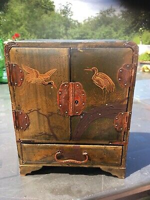Antique Chinese Chinoiserie Miniature Jewelery Cabinet Hand Painted Late 19thC