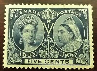 QV 1897 JUBILEE ISSUE 5c DEEP BLUE MINT HINGED S.G.127 VERY GOOD CONDITION