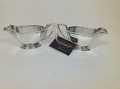EXCELLENT VINTAGE PAIR of SILVER PLATE GRAVY or SAUCE BOATS