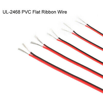 UL-2468 PVC Flat Ribbon Wire 18 20 22 24 26AWG Stranded Cable Red / Black 2 Core