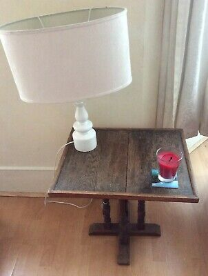 House Clearance ! Antique Oak Side Table On Four Turned Legs, Useful C1900