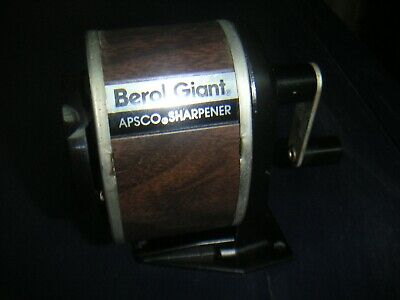 Berol Giant APSCO Pencil Sharpener Hand Crank  6 Hole Wood Veneer Metal Base