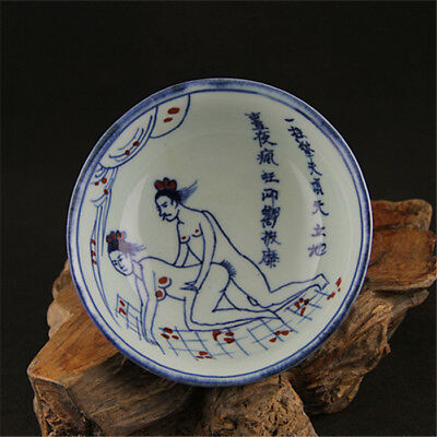 China old antique Porcelain jingdezhen Blue & white Sexy bowl AAA