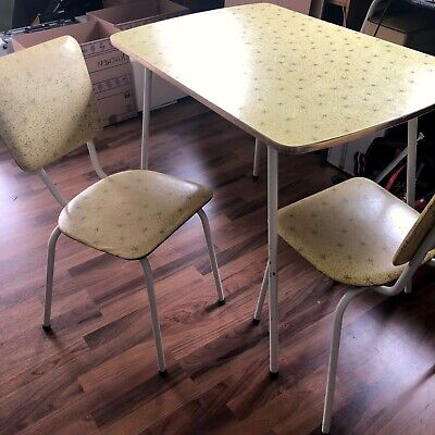 Mid-Century 50s Formica Atomic Style Dinette Set table + 2 chairs