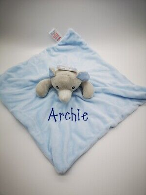 Personalised Baby Soft ELEPHANT  Comforter Taggy taggie tag Blanket Girl Gift