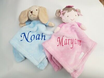 Personalised Baby Soft puppy / princess  Comforter Blanket Girl Gift