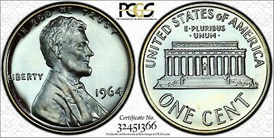 Silver Toned 1964 Lincoln Proof Cent - PCGS PR67BN