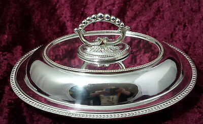 Antique silver plated oval entree dish with beaded lid & ornate removable handle