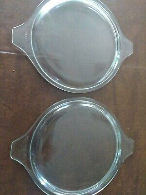 Two Vintage Pyrex Clear Glass Replacement Lids 470-C for Cinderella Casserole