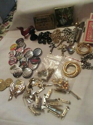 VTG JUNK DRAWER- U.S.Dollar Coins. Sterl.Pin..jewelry findings-bronze etc.