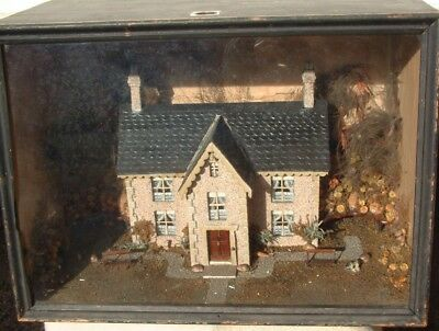 Antique mid 19thC  Large cased  DIORAMA of a  house in a cottage garden