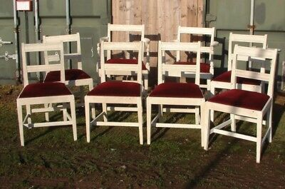 Antique Country House OAK DINING CHAIRS set of eight LATER painted .