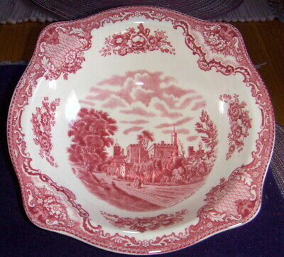 """Johnson Bros Old Britain Castles 8 1/2"""" Red*Pink Round Serving Bowl Ruthin Castl"""