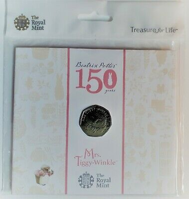 Very Rare 2016 Beatrix Potter Mrs Tiggy Winkle 50p BUNC Coin in Royal Mint Pack.