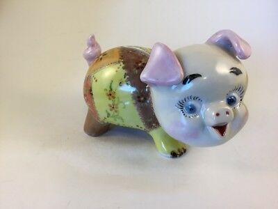 Ceramic Vintage Handpainted Pig Piggy Bank Signed B 5