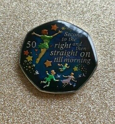 Enamelled Coin 50 pence Peter Pan 2019