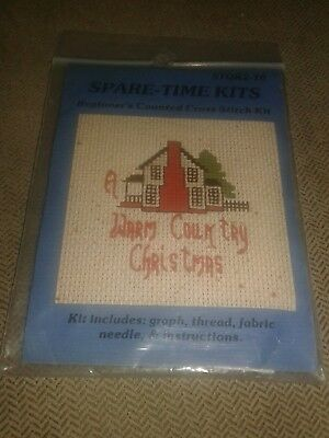"""Spare-Time Kits """"Warm Country Christmas"""" Mini Beginner Counted Cross Stitch Kit"""