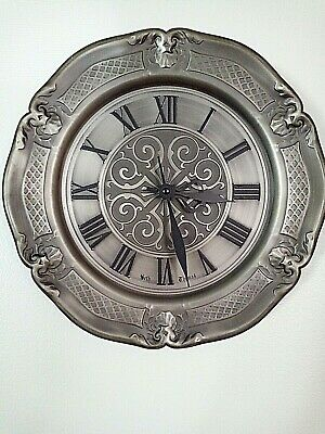 VINTAGE SETH THOMAS Wall Clock, Pewter Plate Battery Operated Germany
