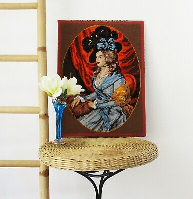 vintage wool tapestry Georgian lady blue dress cameo picture