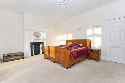 Beautiful walnut Art Deco 1930s double bed, side units, mirror and wardrobe