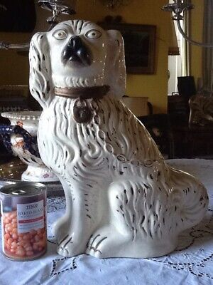 Antique c19th Extra Large Staffordshire Wally Spaniel Mantle Dog 15 Inches Tall