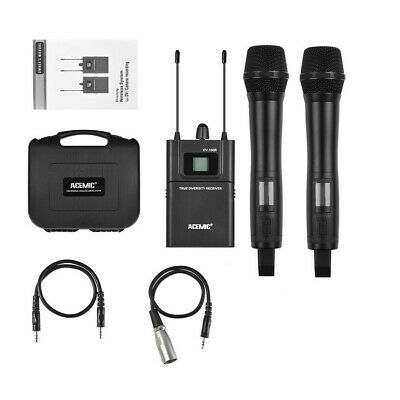 UHF Dual Channels 2 Wireless Handheld Microphone for DSLR Camera Camcorder Video
