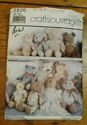 """Vintage Simplicity Bear Doll Pattern 7862 Size 18.5"""", 22"""", 24"""" Free Shipping"""