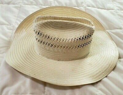 5955c3ce0760ae Resistol Natural Straw Western Cowboy Hat Self Conforming Oval 6 1/8