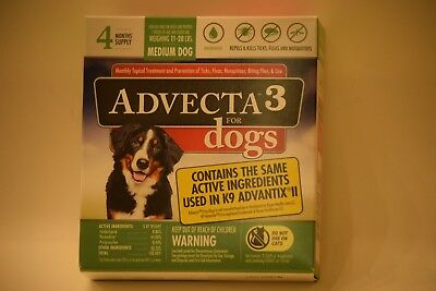 Advecta 3 Treatment For Medium Dogs 11-20 lbs.4 Month Supply NEW 100% AUTHENTIC