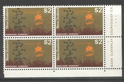 New Zealand 1971 $2 Agriculture Plate Block of 4 VF UMM MNH