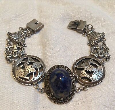 Egyptian Revival Sterling Huge Sodalite Lotus,Snake,Ankh, Pharaoh,Bracelet