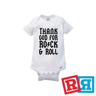 Thank God For Rock & Roll Baby Onesie AC/DC Style Romper Gerber Organic Cotton