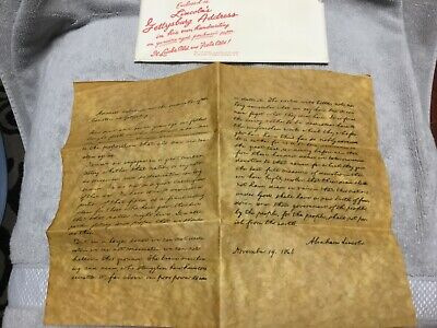 President Abraham Lincoln Gettysburg Address Historical Document 1863