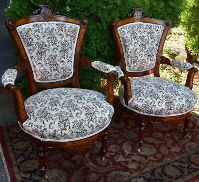 19th century Antique Victorian Eastlake Walnut Pair Arm chairs / New Upholstery