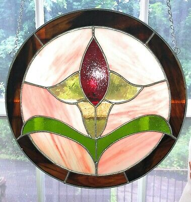 Stained Glass Flowering Rose Window Decoration Sun Catcher 13.5 Inch Diameter