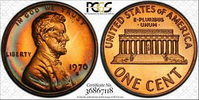 1970-S 1 Cent Lincoln Memorial Penny Pcgs Pr67Rb Large Date Graded & Toned Coin!