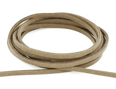 (5 metres, light brown) - Auroris- Faux suede leather cord - flat 3 mm -
